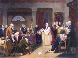 haplain Jacob Duche leading the first prayer in the First Continental Congress, 1774