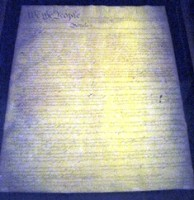 Photo of the US Constitution in the National Archives