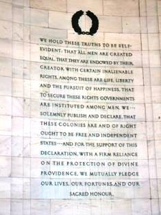 Excerpt of the Declaration of Independence on the wall of the Jefferson Memorial, Washington D.C.