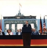 Ronald Reagan speaking in front of the Brandenburg Gate and the Berlin Wall on June 12, 1987.