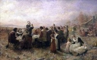"""""""The First Thanksgiving at Plymouth"""" (1914) By Jennie A. Brownscombe"""