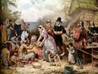 """""""The First Thanksgiving"""", painting by Jean Leon Gerome Ferris"""