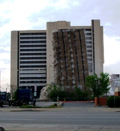 Controlled demolition of a former abortion clinic and medical center at 50 High Street in Buffalo, New York on May 26, 2007