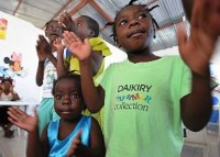 Haitian orphans. The orphanage, constructed by U.N. workers, was the first building erected in Port-au-Prince after the 2010 Haiti earthquake.