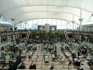 image-Denver International Airport security screening area
